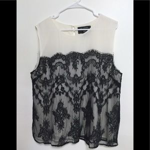 St John Tank  Silk White with Black Lace Xl